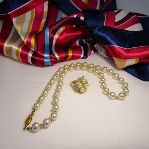Pearl and Gold Necklace and Ring Set